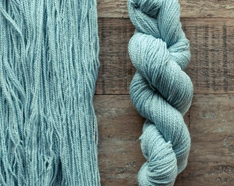 Hand dyed Cormo wool fingering weight yarn, 2 ply, 260 yards, 56 grams, rare breed, pale turquoise blue, Wisp
