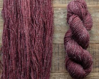 Hand dyed Wool hemp blend sock yarn, fingering weight, 4 ply, nylon free, superwash, 435 yards per 100 grams, Merlot, wine, burgundy
