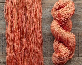 Hand dyed Wool hemp blend sock yarn, fingering weight, 4 ply, nylon free, superwash, 435 yards per 100 grams, Whiskey Marmalade, rich orange