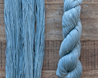 Faded Denim Blue Pima Cotton Fingering weight yarn, 360 metres per 100 grams, price per skein, mill end, limited supply