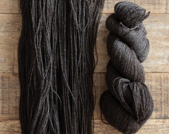 Undyed Natural Dark Brown Romney Light Fingering Weight Yarn, 2 ply, 540 yards per 100 grams, Canadian raised and milled, non-superwash