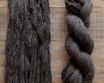 Undyed Natural Dark Brown Lincoln Rambouillet blend yarn, sport weight, 185 yards per 56 grams, 2 ply, rare breed blend
