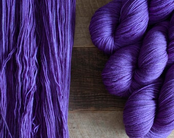 Hand dyed merino nylon blend fingering weight sock yarn, 425 yards, 100 grams, 4 ply, superwash, Kapow, purple