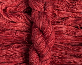 "Waxwing ""Ruby"" Extra-fine merino/silk (75/25) fingering weight yarn, 435 yards, 100 grams, 4 ply"