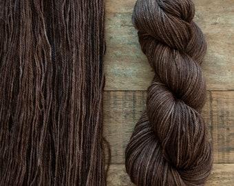 Mohair Wool blend fingering weight sock yarn, 405 yards per skein, non-superwash, synthetic free, dark cool brown, Walnut