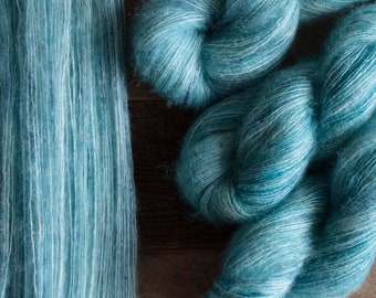 "Hand dyed Yarn, ""Glacial"" teal with speckles, mohair silk blend laceweight yarn, 455 yards, 50 grams, non-superwash"
