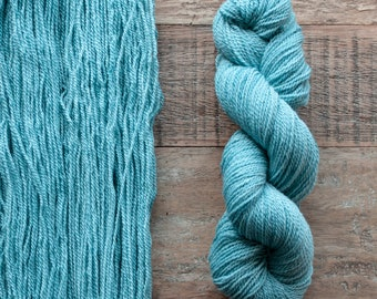 Hand dyed Cormo wool fingering weight yarn, 2 ply, 260 yards, 56 grams, rare breed, soft turquoise blue, Waterlily