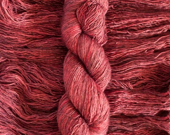 "Hand Dyed Yarn, ""Vintage"", rich red merino/silk (70/30) fingering weight yarn, single ply, 435 yards, 100 grams, superwash"