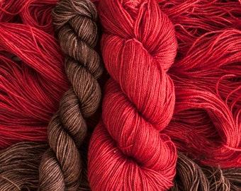"Vireo Sock Set ""Geum"" and ""MoLe"" Hand dyed BFL/silk Sock Yarn Set, 525 yards/143 grams"