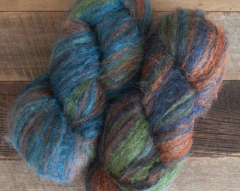 Self-striping kid mohair/silk/merino (55/25/20) blend laceweight yarn - blue, turquoise, green, and orange