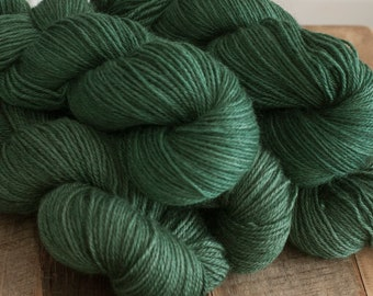 "Hand Dyed Yarn, ""Hemlock"" medium green BFL Gotland blend (75/25) DK weight yarn, 250 yards, 100 grams, 3 ply, non SW"