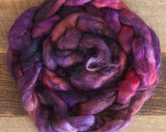 Hand Dyed Wensleydale Top, 100 grams, sourced from the Uk, shades of purple and burgundy, rare breed