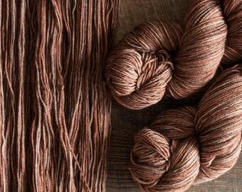 "Hand dyed merino nylon blend fingering weight sock yarn, 425 yards, 100 grams, 4 ply, superwash, ""Hazelnut"", warm brown"