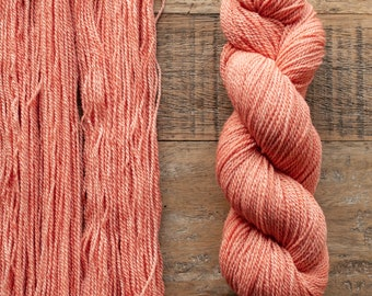Hand dyed Cormo wool fingering weight yarn, 2 ply, 260 yards, 56 grams, rare breed, soft peach orange, Melon