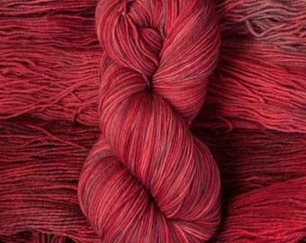 "Eider ""Cherries Jubilee""  -100% extra-fine merino fingering weight yarn, 420 yards/100 grams, 4 ply, non-superwash, hand dyed"