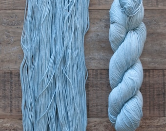 Sky Blue Cotton Fingering weight yarn, 360 metres per 100 grams, price per skein, mill end, limited supply