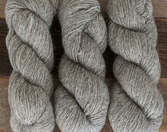 Undyed natural grey 100% Romney DK yarn - 250 yards/100 grams, woolen spun, non-superwash, 2 ply, raised and milled in Canada