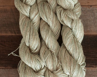 Soft Sage Green and Beige Ramie/Hemp/Bamboo blend (70/15/15) DK weight yarn, 290 m/100 grams, milled in Italy, mill end