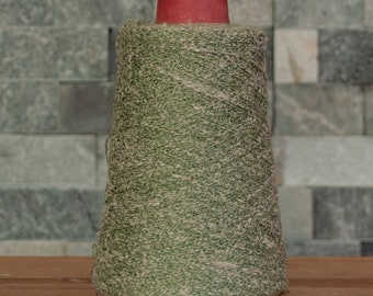 Green with white Silk Viscose blend laceweight slub yarn, 2690 metres, 245 grams, sold on the cone