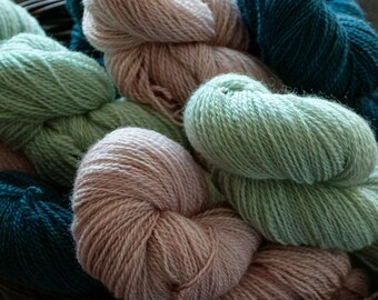 Hand dyed Romney sport weight yarn, 2 ply, 325 yards, 100 grams, Canadian raised & milled, small batch, rare breed, Muffin