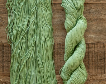 Hand dyed Bamboo Cotton blend DK weight yarn, 270 yards per 100 grams, milled in Italy, apple green