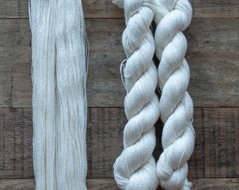 Undyed Tanguis Cotton Tencel blend yarn, laceweight, 400 metres per 50 grams, 2 ply, milled in Peru, price per skein