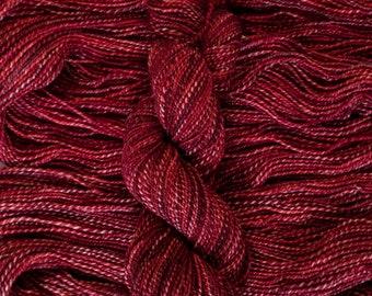 "Magpie DK ""Cherries Jubillee"" Handyed, handplied marled yarn, 200 yards/100 grams, 2 ply, 100% merino, superwash"