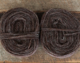 100% Romney spin rolls/pencil roving, undyed, natural heathered brown, 300 yards/125 grams