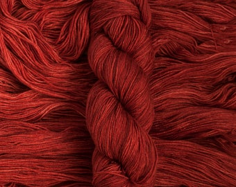 "Waxwing ""Sumac"" Extra-fine merino/silk (75/25) fingering weight yarn, 435 yards, 100 grams, 4 ply"
