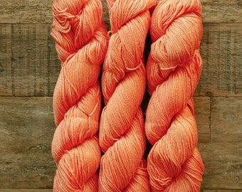 Hand dyed Bamboo Cotton blend DK weight yarn, 270 yards per 100 grams, milled in Italy, coral-orange