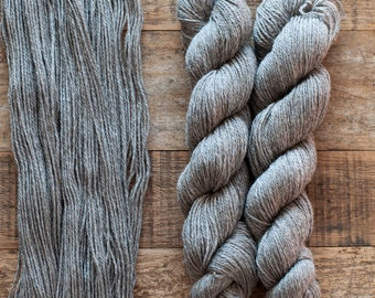Undyed natural grey BFL x Romney wool yarn, DK weight, 255 yards per 105 grams, small batch, single sheep, Louise
