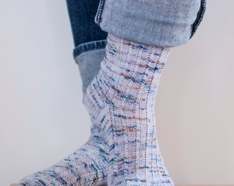 Shooting Star handknit socks knitting pattern, toe-up or cuff-down, pdf download