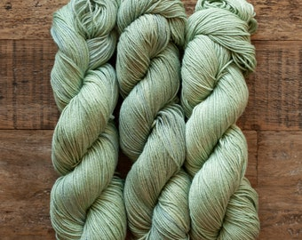 Hand dyed Bamboo Cotton blend DK weight yarn, 270 yards per 100 grams, milled in Italy, sage green