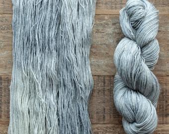 Hand dyed Wool hemp blend sock yarn, fingering weight, 4 ply, nylon free, superwash, 435 yards per 100 grams, Morning Fog, soft silver grey