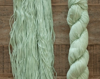 Hand dyed Bamboo Cotton blend DK weight yarn, 270 yards per 100 grams, milled in Italy, light mint