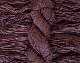 "Hand Dyed Yarn, ""Fig"", BFL/Masham (75/25) blend Aran weight yarn, 175 yards, 100 grams, 3 ply, non-superwash"