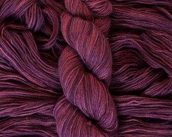 "Hand Dyed Yarn, ""Black Cherry"" dark burgundy wine, BFL Gotland blend DK weight yarn, 250 yards, 100 grams, 3 ply, non-superwash"