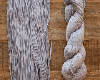 Hand dyed Bamboo Cotton blend DK weight yarn, 270 yards per 100 grams, milled in Italy, lavender