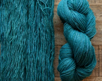 Mohair Wool blend fingering weight sock yarn, 405 yards per skein, non-superwash, synthetic free, Puntledge, green, aqua, teal, turquoise