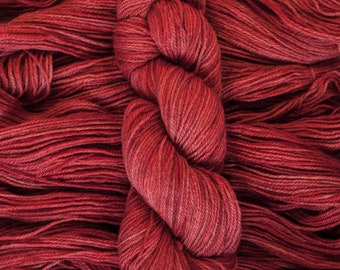 "Hand Dyed Yarn, ""Ruby"", bright red, BFL Gotland blend DK weight yarn, 250 yards, 100 grams, 3 ply, non-superwash"