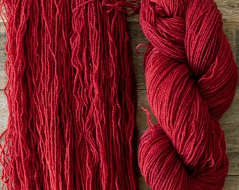 Mohair Wool blend fingering weight sock yarn, 405 yards per skein, non-superwash, synthetic free, Sumac, warm red