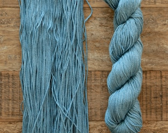 Hand dyed Bamboo Cotton blend DK weight yarn, 270 yards per 100 grams, milled in Italy, denim blue