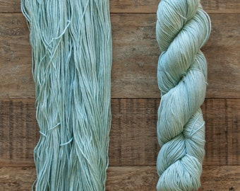 Celadon Pima Cotton Fingering weight yarn, 360 metres per 100 grams, price per skein, mill end, limited supply