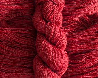 "Hand Dyed Yarn, ""Ruby"" bright red BFL Gotland blend fingering weight yarn, 380 yards, 100 grams, 2 ply, non-superwash"