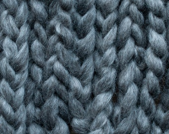 Undyed dark grey Wensleydale pindrafted roving, US grown, Canadian processed, sold in 100 gram bumps, Sybie