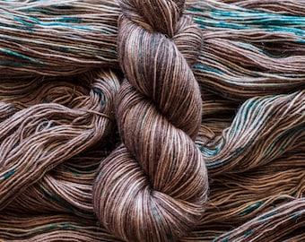 "Hand Dyed Yarn, ""Forest Floor"" brown with speckles, alpaca/merino/nylon blend, fingering weight sock yarn, 435 yards 100 grams, superwash"