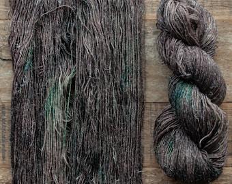 Hand dyed Wool hemp blend sock yarn, fingering weight, 4 ply, nylon free, superwash, 435 yards per 100 grams, Forest Floor, dark brown