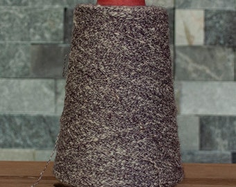 Black with white Silk Viscose blend laceweight slub yarn, 3680 metres, 335 grams, sold on the cone