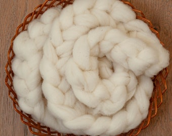 Undyed natural white Canadian merino wool roving, BC sourced, Alberta processed, sold in 100 gram bumps