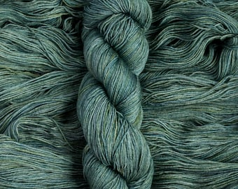 "Hand Dyed Yarn, ""Frog Song"" semi-tonal green extra-fine merino/silk blend fingering weight yarn, 435 yards, 100 grams, 4 ply, superwash"